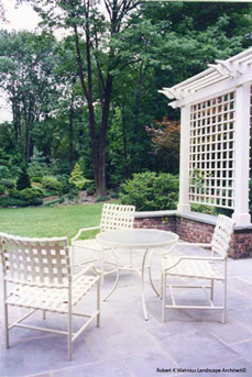 Patio chairs and lattice